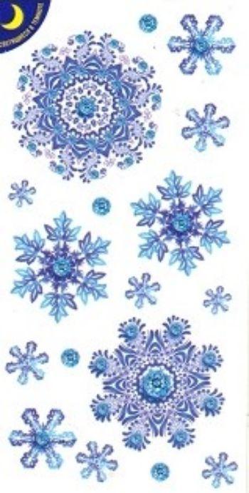 Наклейки новогодние СнежинкиНаклейки для интерьера, окна<br>Наклейки светятся в темноте.<br><br>Год: 2017<br>Высота: 80<br>Ширина: 150<br>Толщина: 1