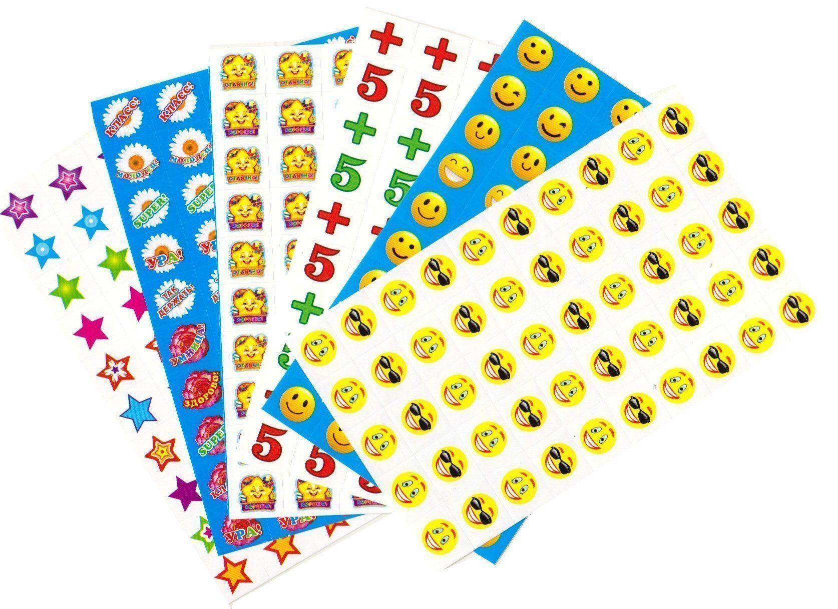 Комплект наклеек для поощрения. 10 видовПоощрительные карточки, наклейки<br>Набор для поощрения на самоклеящейся бумаге.В комплекте 10 штук.<br><br>Год: 2018<br>Высота: 160<br>Ширина: 95<br>Толщина: 3