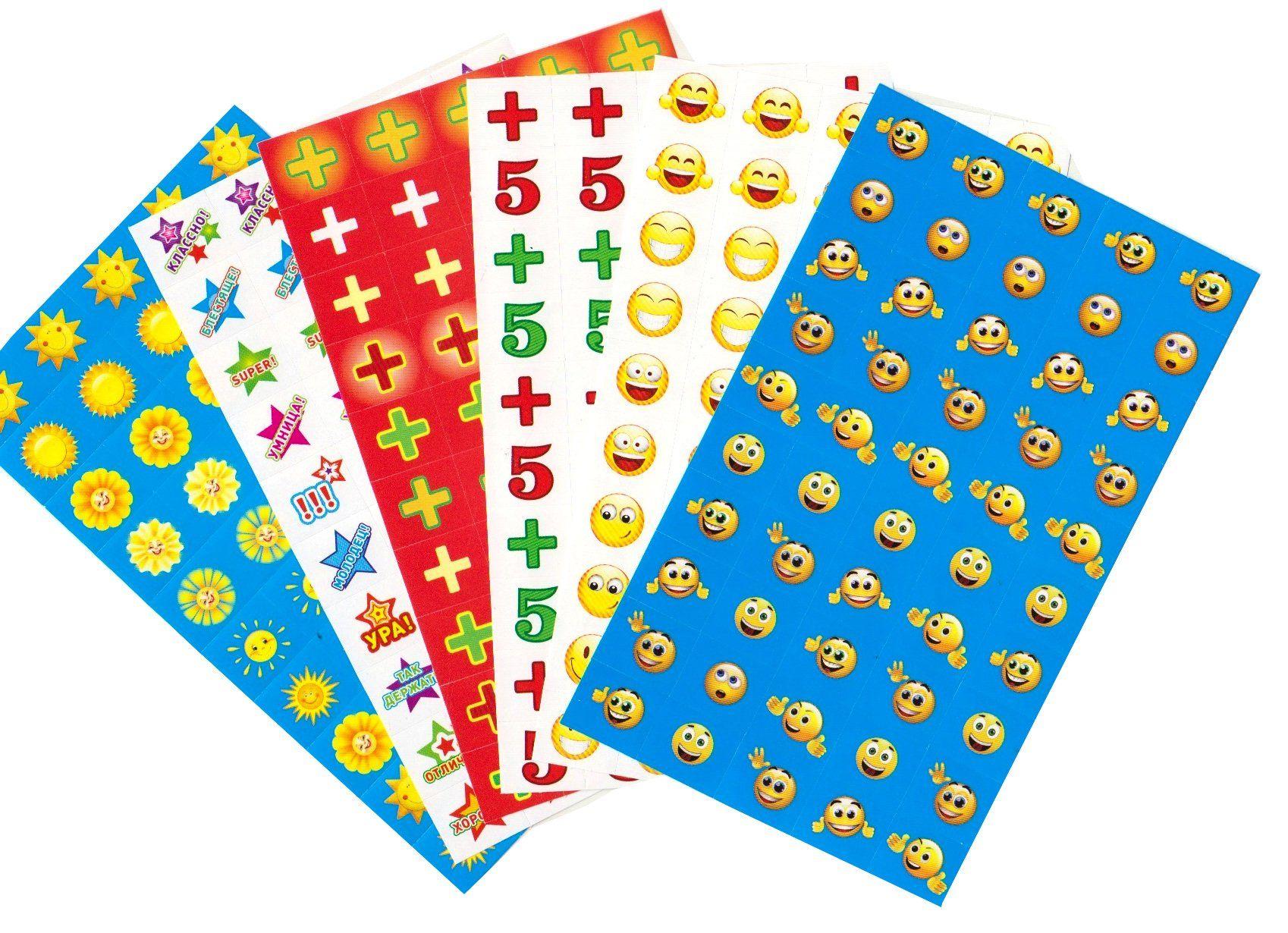 Комплект наклеек для поощрения. 10 видовПоощрительные карточки, наклейки<br>Набор для поощрения на самоклеящейся бумаге в индивидуальной упаковке с европодвесом.В комплекте 10 штук.<br><br>Год: 2018<br>Высота: 160<br>Ширина: 80<br>Толщина: 4