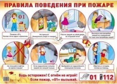 Плакат Правила поведения при пожареОформительские плакаты<br>Формат А2.Материал: картон.<br><br>Год: 2018<br>Высота: 490<br>Ширина: 690<br>Толщина: 1