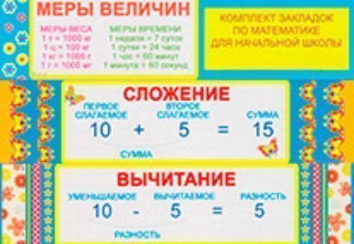 Комплект закладок по математике для начальной школыЗакладки<br>Комплект из 8-ми закладок по математике для начальной школы.<br><br>Год: 2014<br>Высота: 50<br>Ширина: 210<br>Толщина: 3