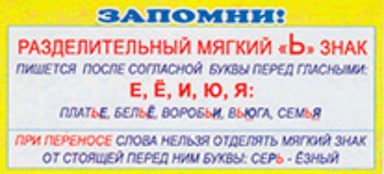 Карточка. Запомни Разделительный мягкий Ь знакЗакладки<br>Карточка-шпаргалка по русскому языку.Материал: картон.<br><br>Год: 2014<br>Высота: 60<br>Ширина: 130<br>Толщина: 1