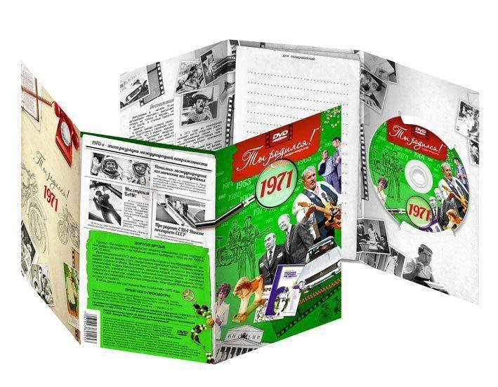 Видео-открытка Ты родился! 1971 годВидео-открытки<br>Вашему вниманию предлагается видео-открытка с записью фильма о значимых событиях в нашей стране и мире, происходивших в 1971 году. Красочный рассказ о политических, спортивных и культурных событиях. Новости из жизни людей, истории съемок лучших фильмов Со...<br><br>Год: 2014<br>Высота: 220<br>Ширина: 140<br>Толщина: 2