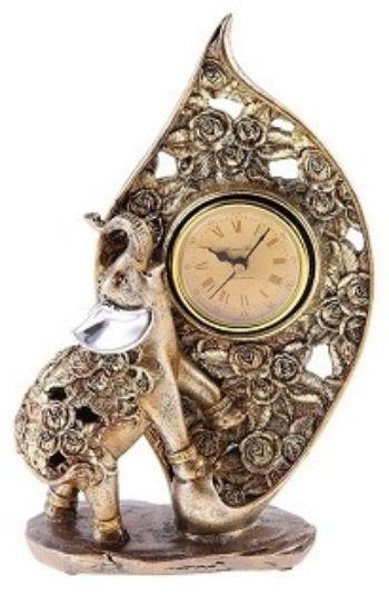 Сувенир-часы Слон в розахШкатулки, копилки, статуэтки<br>Материал: полистоун.<br><br>Год: 2017<br>Высота: 265<br>Ширина: 175<br>Толщина: 170