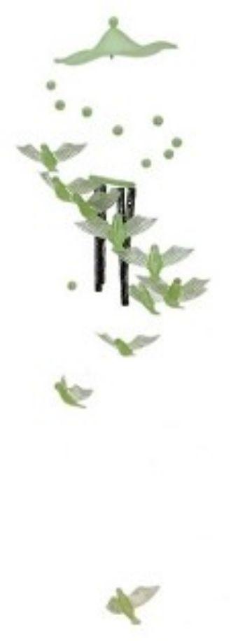 Музыка ветра. 4 трубочки и 11 фосфорных птичекАксессуары и сувениры<br>Материал: металл, пластик.<br><br>Год: 2017<br>Высота: 350<br>Ширина: 70
