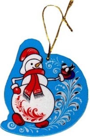Игрушка новогодняя СнеговикНовогодние украшения<br>Елочная игрушка выполнена в стиле хохломской росписи, сделана из натурального дерева, на веревочке.<br><br>Год: 2017<br>Высота: 85<br>Ширина: 80<br>Толщина: 3