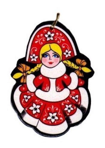 Игрушка новогодняя СнегурочкаНовогодние украшения<br>Елочная игрушка выполнена в стиле хохломской росписи, сделана из натурального дерева, на веревочке.<br><br>Год: 2017<br>Высота: 80<br>Ширина: 55<br>Толщина: 3