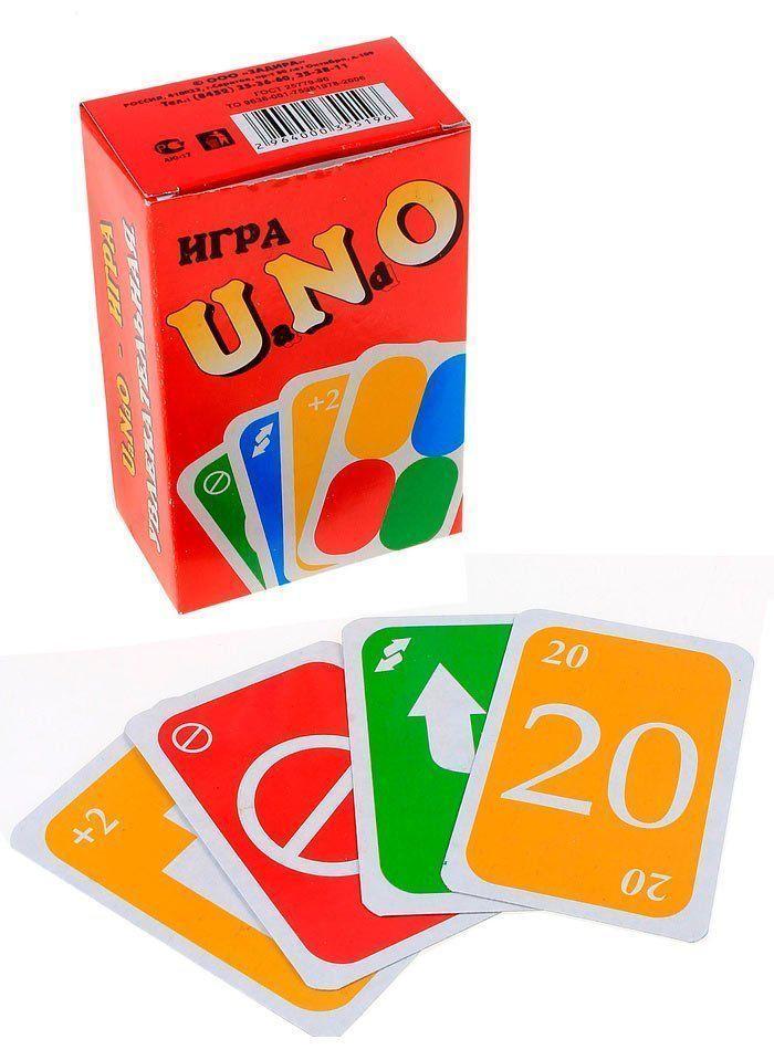 Карточная игра УНОНастольные игры<br>УНО - это игра, разработанная на основе всемирно известных настольных и наших традиционных карточных игр. Она объединит Вас в любой компании и позволит легко общаться. С ней Вы весело проведете время. Благодаря дополнительным правилам, Вы можете пользоват...<br><br>Год: 2014<br>Высота: 100<br>Ширина: 70<br>Толщина: 50