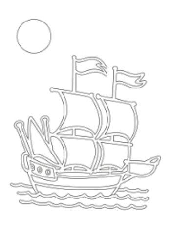 Трафарет для цветного песка КорабликКартины из песка<br>Трехслойная картонная основа с вырезанным лазером трафаретом для рисования песком. Формат А5.<br><br>Год: 2015<br>Высота: 210<br>Ширина: 145<br>Толщина: 1