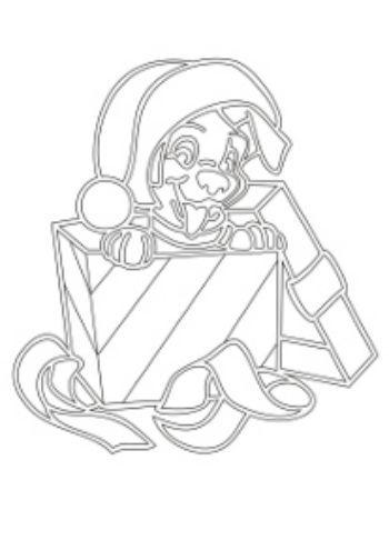 Трафарет для цветного песка Щенок в подаркеКартины из песка<br>Трехслойная картонная основа с вырезанным лазером трафаретом для рисования песком. Формат А5.<br><br>Год: 2015<br>Высота: 210<br>Ширина: 150<br>Толщина: 1
