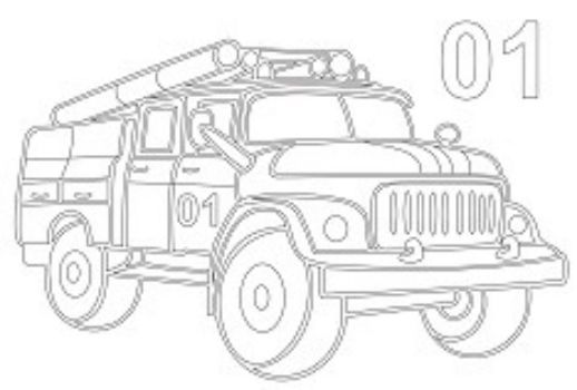 Трафарет для цветного песка Пожарная машинаКартины из песка<br>Трехслойная картонная основа с вырезанным лазером трафаретом для рисования цветным песком. Формат А5.<br><br>Год: 2016<br>Высота: 150<br>Ширина: 210<br>Толщина: 1