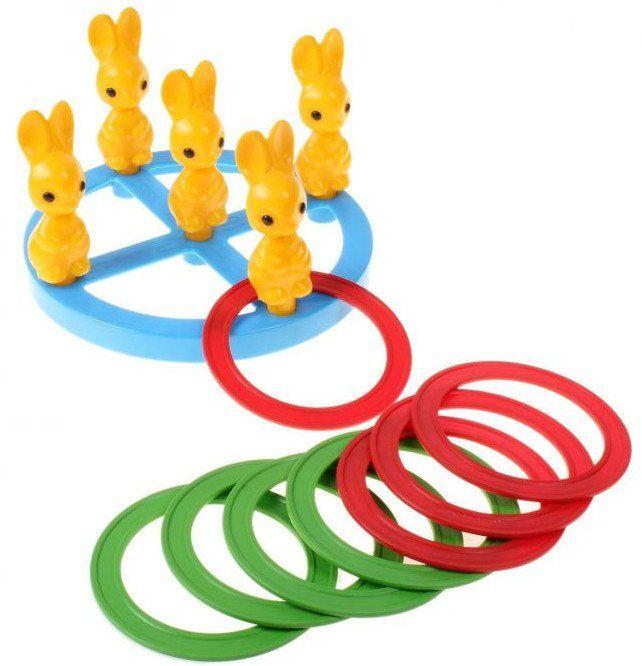 Кольцеброс ЗайчикиИгрушки<br>Кольцеброс Зайчики представляет собой игрушку, развивающую меткость, ловкость и глазомер. Необходимо, отойдя на некоторое расстояние, накидывать кольца на зайчиков. Можно играть как одному, так и вдвоем, разделившись по цветам. Победитель определяется п...<br><br>Год: 2016<br>Высота: 220<br>Ширина: 220<br>Толщина: 50