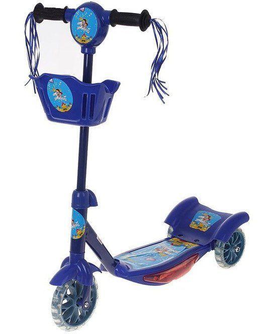 Самокат стальной, 3 колеса, с корзиной и музыкойИгры и игрушки<br>Яркий спортивный дизайн синего цвета с кисточками на руле приведёт в восторг любого юного спортсмена. С вместительной корзинкой малыш сможет устроить своей любимой игрушке увлекательное путешествие. Не беспокойтесь о безопасности ребёнка: устойчивая трёхт...<br><br>Год: 2016<br>Высота: 710<br>Ширина: 265