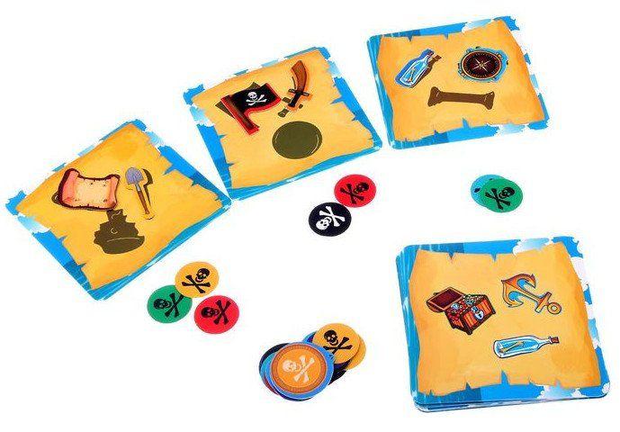 Настольная игра Приключения пиратовНастольные игры<br>Перед вами увлекательная настольная игра Приключения пиратов. В наборе вам предстоит доставать фигурки пиратских сокровищ из таинственного мешка, но не просто, а с закрытыми глазами. Уже интересно? Тогда скорее начинаем играть!Перед вами двухсторонние к...<br><br>Год: 2016<br>Высота: 130<br>Ширина: 130<br>Толщина: 26
