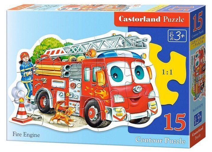 Пазл Пожарная машина, 15 элементовПазлы<br>Собирание пазлов развивает мелкую моторику у ребенка, тренирует наблюдательность, логическое мышление, знакомит с окружающим миром, с цветом и разнообразными формами.Размер собранного поля 22,8х15,5 см.Для детей от 3-х лет.<br><br>Год: 2016<br>Высота: 130<br>Ширина: 175<br>Толщина: 30