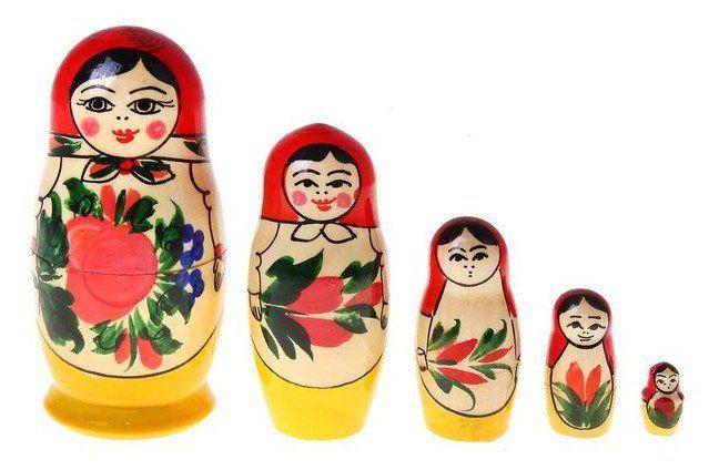 Матрешка традиционная, 5 в 1Деревянные игрушки<br>Матрешка, 5 в 1, покрыта лаком.Материал: дерево.Этот товар можно преподнести в качестве подарка к празднику.<br><br>Год: 2016<br>Высота: 110<br>Ширина: 50<br>Толщина: 50