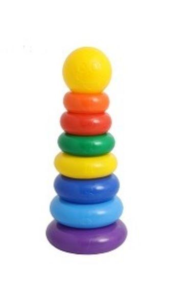 Пирамидка, 7 колец с кругомГоловоломки и конструкторы<br>Пирамидка, 7 колец с шаром - одна из первых развивающих игрушек малыша, которая состоит из основы-стержня, круглых колец и наконечника в виде шара со смайликом.Каждое кольцо разного цвета и пронумеровано. Собирая пирамидку, ребёнок освоит основные цвета р...<br><br>Год: 2016<br>Высота: 350<br>Ширина: 130<br>Толщина: 130
