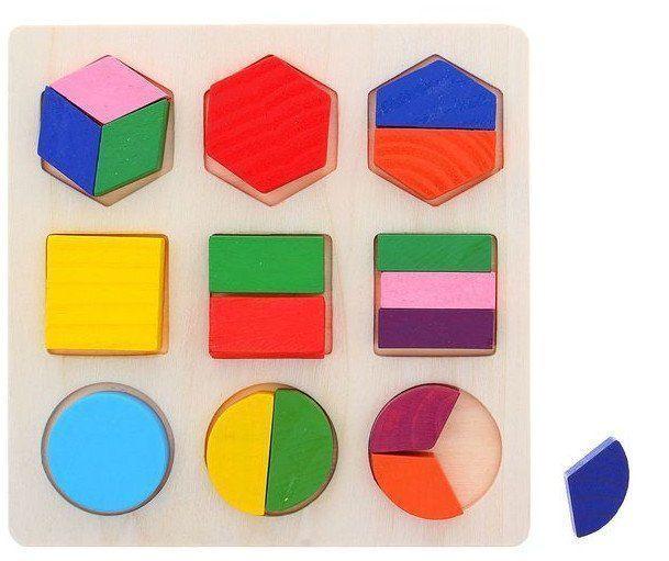 Головоломка Дроби и целоеДеревянные игрушки<br>Головоломка Дроби и целое создана по методике Монтессори, направленной на развитие тактильных ощущений. Особенность этого метода в том, что взрослый не вмешивается в творческий процесс игры. То есть малыш изучает игровой материал, цвета элементов, формы...<br><br>Год: 2017<br>Высота: 150<br>Ширина: 150<br>Толщина: 10