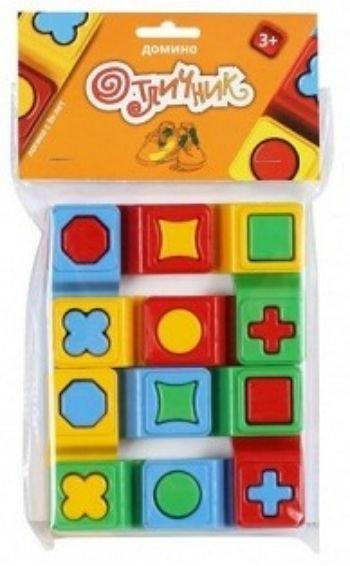 Домино Отличник, 12 элементовНастольные игры<br>Перед вами домино для малышей и решения первых логических задач. Игра учит различать и определять цвета, геометрические формы, размер предмета.Цель игры: надеть одну фигурку на другую так, чтобы отверстия совпали по рисунку.Игра станет практическим методи...<br><br>Год: 2017<br>Высота: 160<br>Ширина: 125<br>Толщина: 22