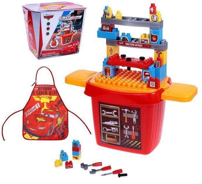 Игровой набор Мастер, Тачки, 46 предметовИгры и игрушки<br>Игровой модуль сочетает в себе возможности конструктора. Малыш самостоятельно оборудует своё рабочее место, прикрепив верхние полочки в произвольном порядке.Стол оснащён всем, что необходимо юному умельцу: удобное расположение и разнообразные инструменты ...<br><br>Год: 2017<br>Высота: 350<br>Ширина: 290<br>Толщина: 270