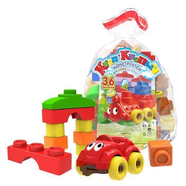 Конструктор Кноп-Кнопыч, 36 деталейИгры и игрушки<br>Конструктор Кноп-Кнопыч предназначен для самых маленьких любителей поиграть в кубики. Соединив в правильной последовательности детали конструктора, малыш сможет собрать паровозик с прицепом, машинку и многое другое. Красочные кубики помогут ребенку выуч...<br><br>Год: 2017<br>Высота: 230<br>Ширина: 130<br>Толщина: 90