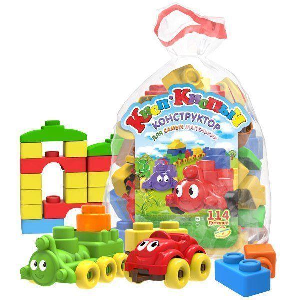 Конструктор Кноп-Кнопыч, 114 деталейИгры и игрушки<br>Конструктор Кноп-Кнопыч предназначен для самых маленьких любителей поиграть в кубики. Соединив в правильной последовательности детали конструктора, малыш сможет собрать паровозик с прицепом, машинку и многое другое. Красочные кубики помогут ребенку выуч...<br><br>Год: 2017<br>Высота: 300<br>Ширина: 400<br>Толщина: 180