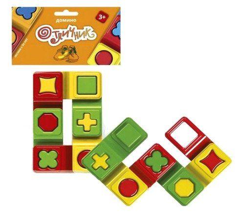 Домино Отличник, 6 элементовИгрушки<br>Игра-домино учит различать и определять цвета, геометрические формы, размер предмета. Игра станет практическим методическим пособием в развитии логики.Цель игры: надеть одну фигурку на другую так, чтобы отверстия совпали по рисунку.Материал: пластмасса.Во...<br><br>Год: 2016<br>Высота: 125<br>Ширина: 85<br>Толщина: 20