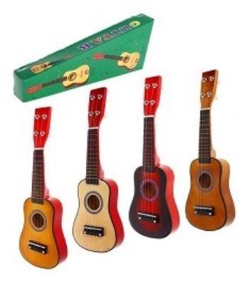 Игрушка музыкальная Гитара, 4 струныМузыкальные инструменты, погремушки<br>Игра на гитаре развивает мелкую моторику рук, координацию движений, звуковое восприятие и чувство ритма. Материал: дерево.Игрушка представлена в ассортименте. Выбор конкретных цветов и моделей не предоставляется.<br><br>Год: 2017<br>Высота: 44<br>Ширина: 15