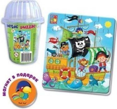 Пазлы мягкие магнитные в стакане ПиратыПазлы<br>Пазл в стаканчике Пираты - это магнитный пазл с изображением корабля и пиратов. Картинка собирается из 20 элементов. Мягкие детали пазла приятны на ощупь и удобны для ручки малыша. Детали хранятся в удобном стаканчике.Играя в пазл, дети учатся соотносит...<br><br>Год: 2017<br>Высота: 100<br>Ширина: 70<br>Толщина: 70