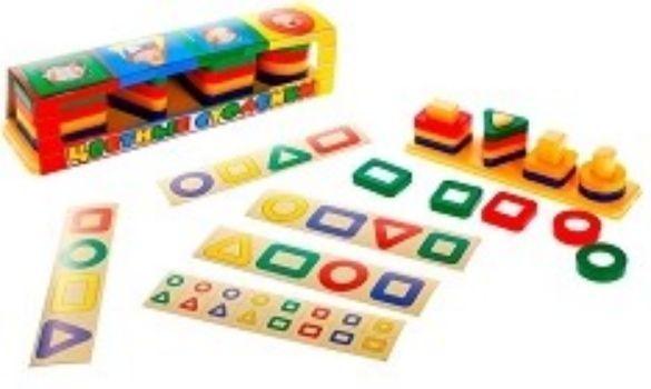 Игрушка Цветные столбикиЗанятия с детьми дошкольного возраста<br>Цветные столбики - это отличная игрушка для развития памяти, навыков пространственного мышления и мелкой моторики. Подбирайте вместе с ребёнком элементы по геометрическим формам (квадрат, круг, треугольник) и нанизывайте их на подходящие столбики или со...<br><br>Год: 2016<br>Высота: 55<br>Ширина: 235<br>Толщина: 55