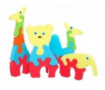 Игровой набор пазлов ЗверушкиИгры и игрушки<br>Пазлы Зверушки непременно порадует деток старше 3-х лет. Набор включает 14 объемных деталей, выполненных в яркой расцветке, которые необходимо скрепить между собой, чтобы получились забавные животные. Все элементы идеально подходят друг к другу и надежн...<br><br>Год: 2017<br>Высота: 200<br>Ширина: 120<br>Толщина: 65