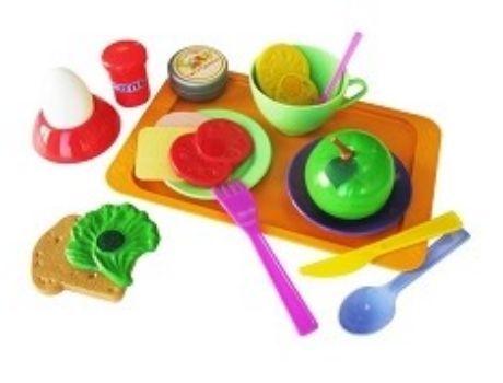 Набор Кушать поданоИгры и игрушки<br>В игровой набор Кушать подано входит: яйцо на подставке, солонка с крышкой, баночка с паштетом, тарелочка, ложка, чашка, блюдце, чайная ложка, вилка, нож, хлеб, сыр, колбаса, лист салата, помидор и лимон. Эти части бутерброда можно прикрепить друг к дру...<br><br>Год: 2017<br>Высота: 60<br>Ширина: 250<br>Толщина: 140
