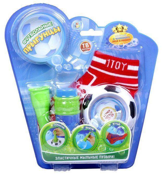 Эластичные мыльные пузыри Футбольные ПрыгунцыИгры и игрушки<br>Эластичные мыльные пузыри отличаются от обычных стойкостью, поскольку являются эластичными, а значит, держат форму и долго не лопаются.Состав набора:- пара носков- мыльные пузыри- лоток- рожок.Цвета микс. Выбор конкретных цветов не предоставляется.<br><br>Год: 2016<br>Высота: 250<br>Ширина: 230<br>Толщина: 45