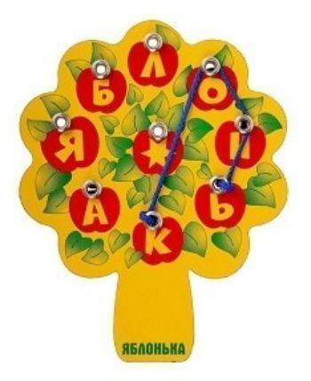 Игра-эрудит ЯблонькаШнуровки<br>Яблонька - пособие для обучения чтению и развития речи. Ребенок продевает шнурок сквозь отверстия, закручивает его вокруг отдельной буквы и из таких букв составляет слова. С помощью указанного в инструкции списка подбирает слова со звездочкой и придум...<br><br>Год: 2016<br>Высота: 170<br>Ширина: 140<br>Толщина: 3