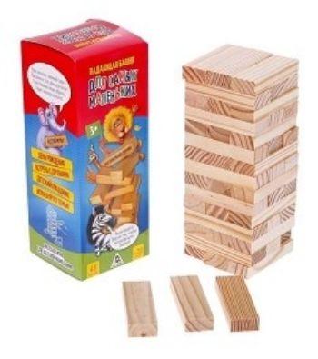 Игра Падающая Башня. Для самых маленькихДеревянные игрушки<br>В коробке вы найдёте 48 брусков из натурального дерева. Постройте из них башню, укладывая детали в ровные ряды по три штуки. По очереди вытягивайте бруски так, чтобы башня не упала. А победит тот, кто последним вытянул брусок до того, как башня развалилас...<br><br>Год: 2017<br>Высота: 200<br>Ширина: 75<br>Толщина: 75