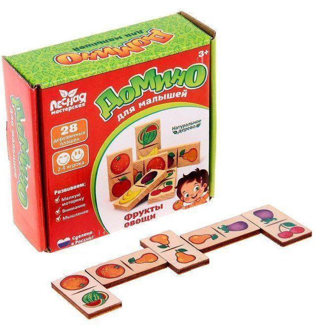 Домино Фрукты-овощи, 28 элементовЗанятия с детьми дошкольного возраста<br>Специально для малышей мы разработали свой вариант этого интересного развлечения. Детское домино имеет яркие рисунки определённой тематики, которые помогут ребёнку обучаться в игровой форме.Игра помогает развивать память, внимание, образное мышление.Элеме...<br><br>Год: 2018<br>Высота: 100<br>Ширина: 100<br>Толщина: 35