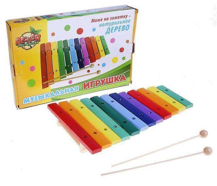 Игрушка музыкальная КсилофонИгры и игрушки<br>Игрушка музыкальная, 12 тонов, 2 палочки.Материал: дерево.<br><br>Год: 2017<br>Высота: 210<br>Ширина: 330<br>Толщина: 6