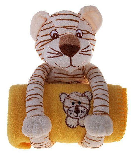 Набор подарочный для новорождённых Этелька. ТигрМягкие игрушки<br>Набор подарочный для новорождённых изготовлен из нежного на ощупь флиса - синтетического трикотажного полотна, которое обладает массой приятных свойств. Благодаря им плед поддерживает комфортную температуру тела, не создавая парникового эффекта; не вызыва...<br><br>Год: 2017<br>Высота: 300<br>Ширина: 200<br>Толщина: 150