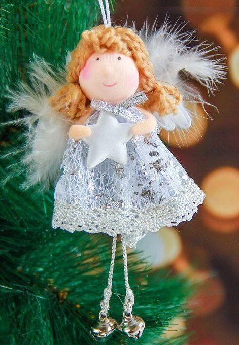 Подвеска мягкая Девочка-ангел кружевная со звездой, 12 смГирлянды, мишура, дождик<br>Материал: текстиль.<br><br>Год: 2017<br>Высота: 100<br>Ширина: 85<br>Толщина: 20
