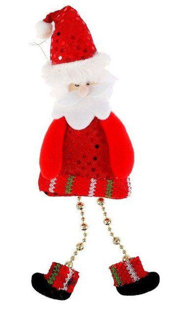Подвеска мягкая Дед мороз с блёсткамиГирлянды, мишура, дождик<br>Материал: текстиль, пластик.<br><br>Год: 2017<br>Высота: 190<br>Ширина: 80<br>Толщина: 12