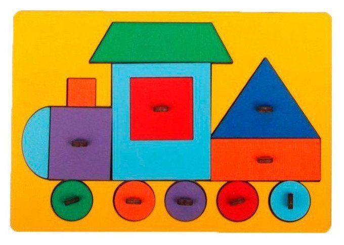 Рамка-вкладыш деревянная ПаровозПирамидки<br>Рамка-вкладыш Паровоз от бренда Лесная мастерская поможет малышу научиться ориентироваться в цветах и формах. Вкладыши выполнены в форме различных геометрических фигур, которые вместе составляют изображение паровоза. Все детали изготовлены из аккуратн...<br><br>Год: 2017<br>Высота: 145<br>Ширина: 205<br>Толщина: 3