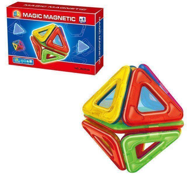 Конструктор магнитный Геометрические фигуры, 18 деталейКонструкторы<br>В наборе имеются 18 ярких и красочных магнитных деталей, которые обязательно привлекут к себе внимание как ребенка, так и окружающих. Изучив все фигуры детально, ребенок сможет просто повеселиться, строя различные сооружения, применяя данные фигурки. Игра...<br><br>Год: 2017<br>Высота: 100<br>Ширина: 155<br>Толщина: 40