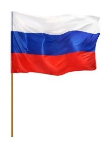 Флажок РоссияИгры и игрушки<br>Материал: текстиль, дерево.<br><br>Год: 2018<br>Высота: 300<br>Ширина: 155<br>Толщина: 8