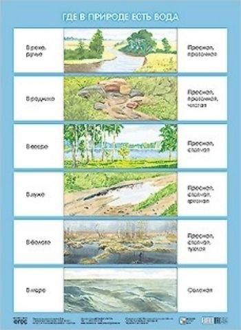 Плакат Где в природе есть водаНаглядно-тематический уголок в ДОО<br>Плакат большого формата Где в природе есть вода издан в рамках учебно-методического комплекта к парциальной программе С.Н. Николаевой Юный эколог. Плакат расскажет детям о том, где в природе есть вода и какими свойствами она обладает. Великолепные кра...<br><br>Год: 2016<br>ISBN: 978-5-4315-0634-5<br>Высота: 690<br>Ширина: 500<br>Толщина: 1