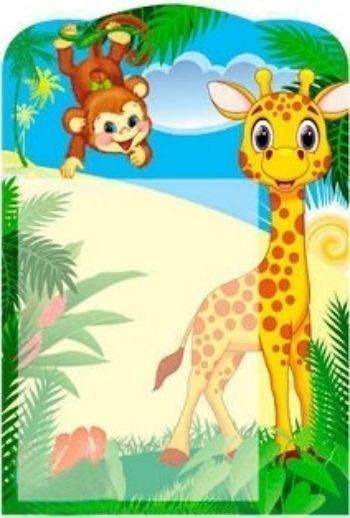 Стенд универсальный для детского сада Жираф и обезьянкаИнформационные стенды<br>Стенд изготовлен из качественного, плотного картона, с фигурной вырубкой и пластиковым карманом формата А4.<br><br>Год: 2017<br>Высота: 480<br>Ширина: 330<br>Толщина: 2