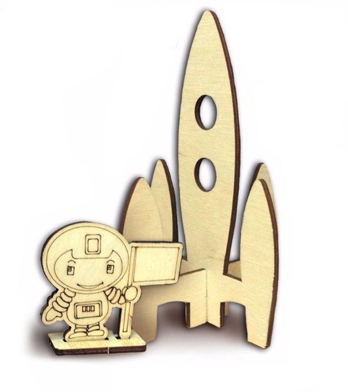 Сборная деревянная модель Космонавт на ракете
