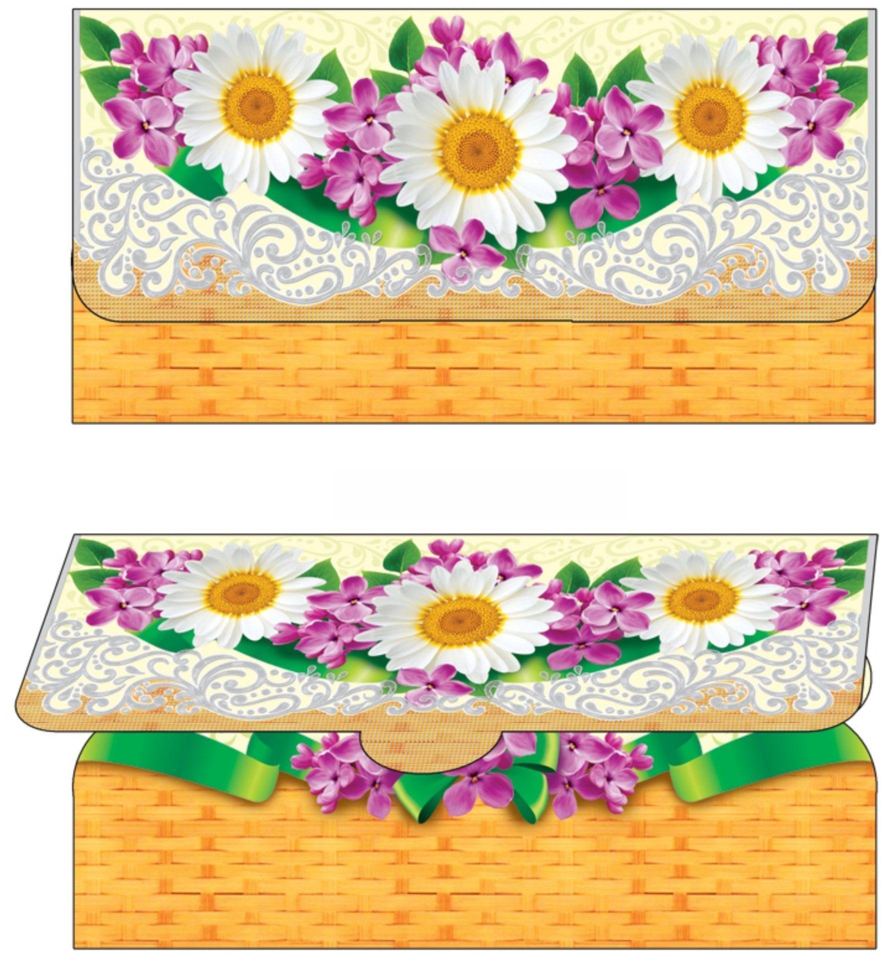 Открытка-конверт для денег (цветы)