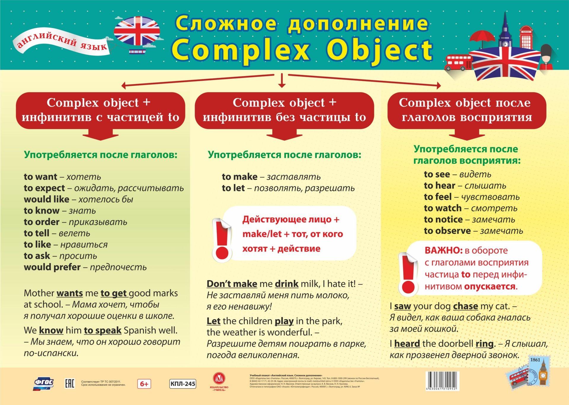 """Учебный плакат """"Английский язык. Сложное дополнение"""": Формат А2"""