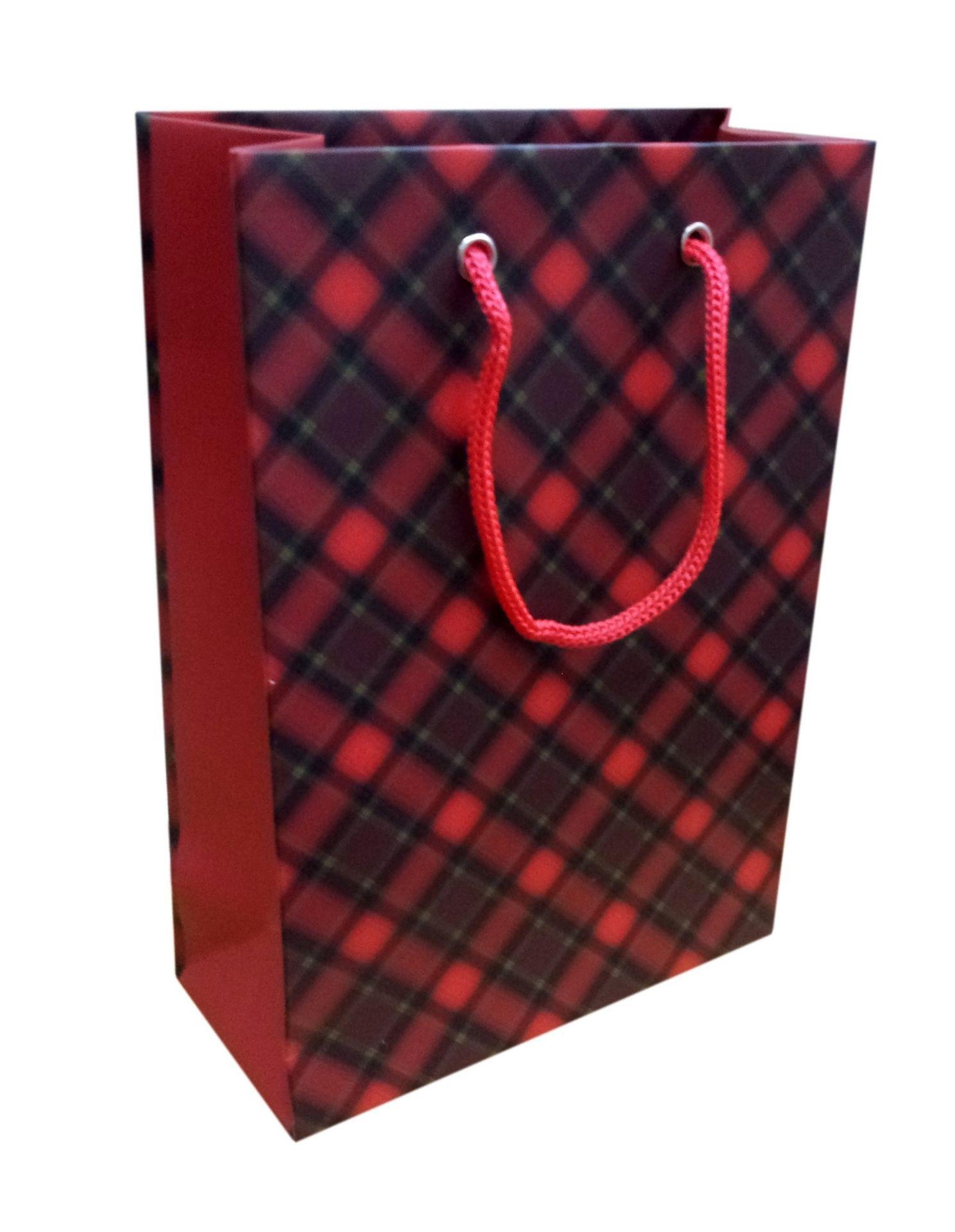 Пакет подарочный бумажный Шотландская клетка
