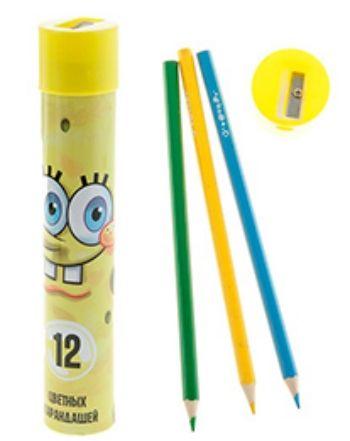 Набор цветных карандашей Губка Боб, с точилкой. 12 цветов